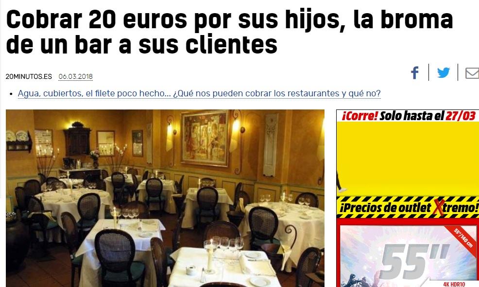 Así recogen los medios la broma del bar de Granada a unos clientes por sus hijos