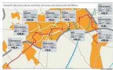 Los pisos en zonas cercanas a paradas del metro suben hasta un 39%