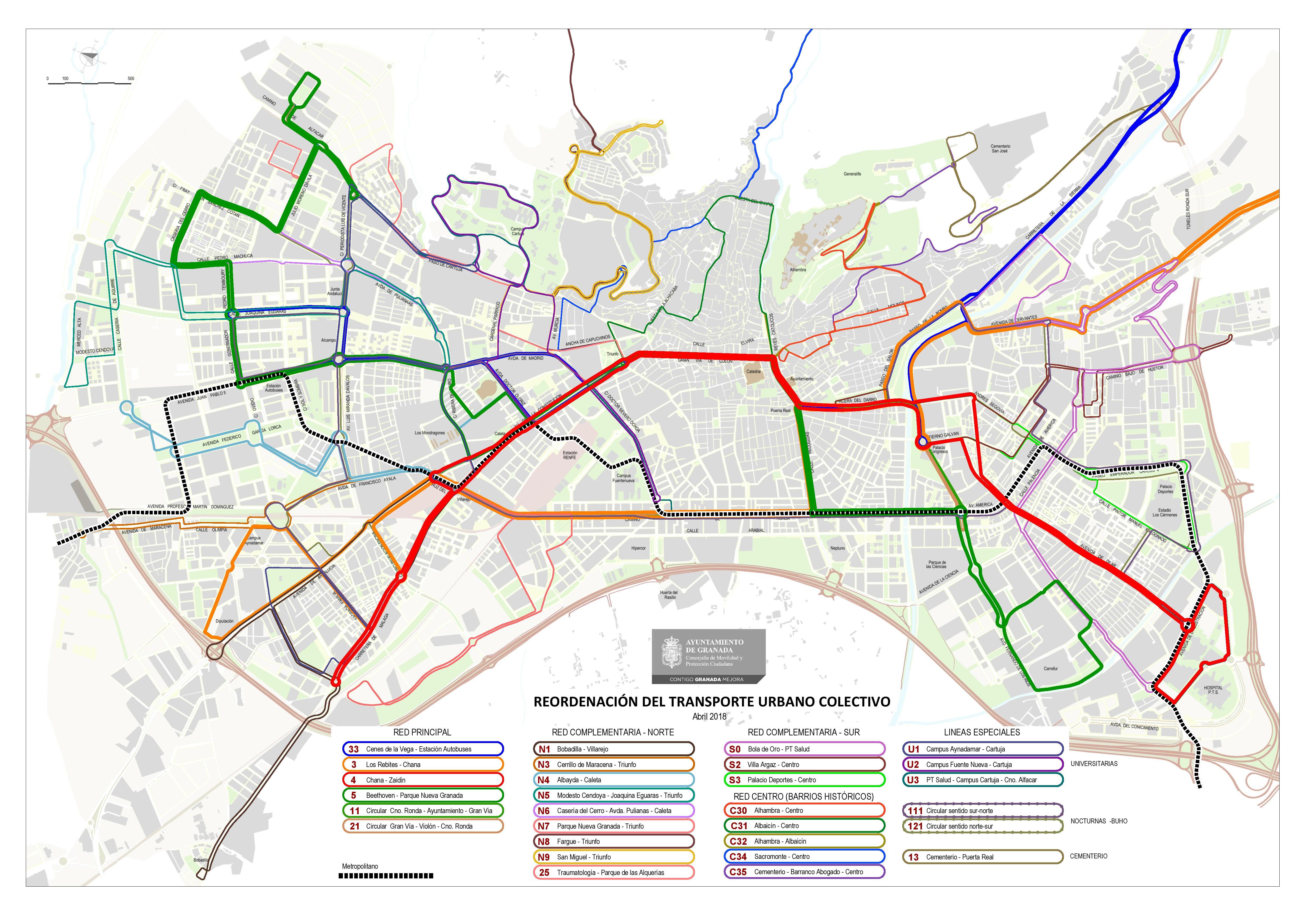 Así es la última propuesta de mapa de autobuses de Granada