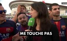 Una periodista se harta del machismo de varios culés en la Copa del Rey: «No me toques»