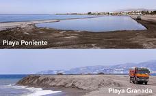 Playa Poniente se convierte en una piscina mientras que en Playa Granada se amontona la arena
