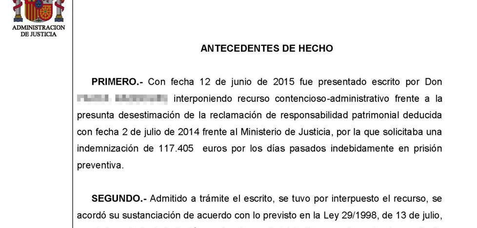 Rechazan indemnizar a un preso que pedía al Estado 117.000 euros tras ser absuelto