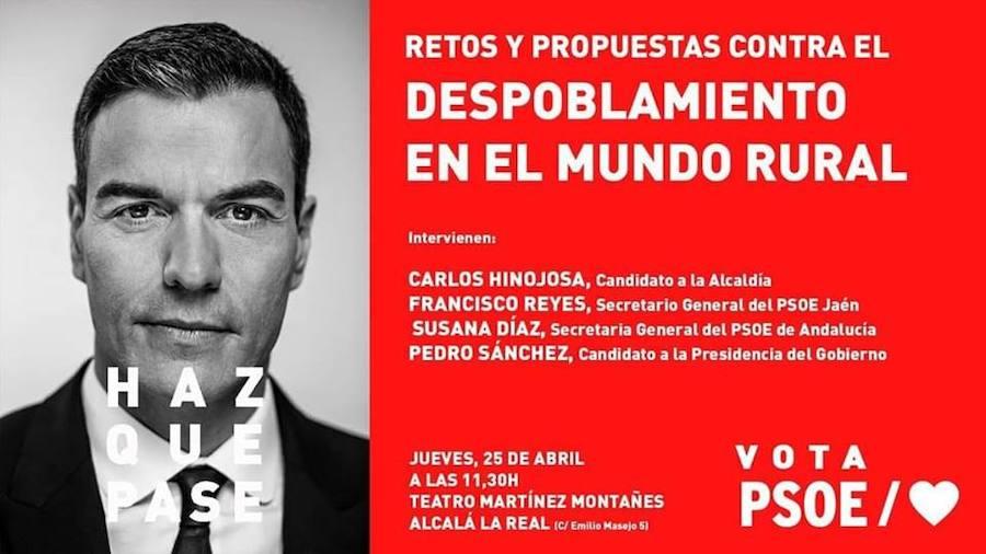 Pedro Sánchez junto a Susana Díaz, Carlos Hinojosa y Francisco Reyes en Alcalá la Real