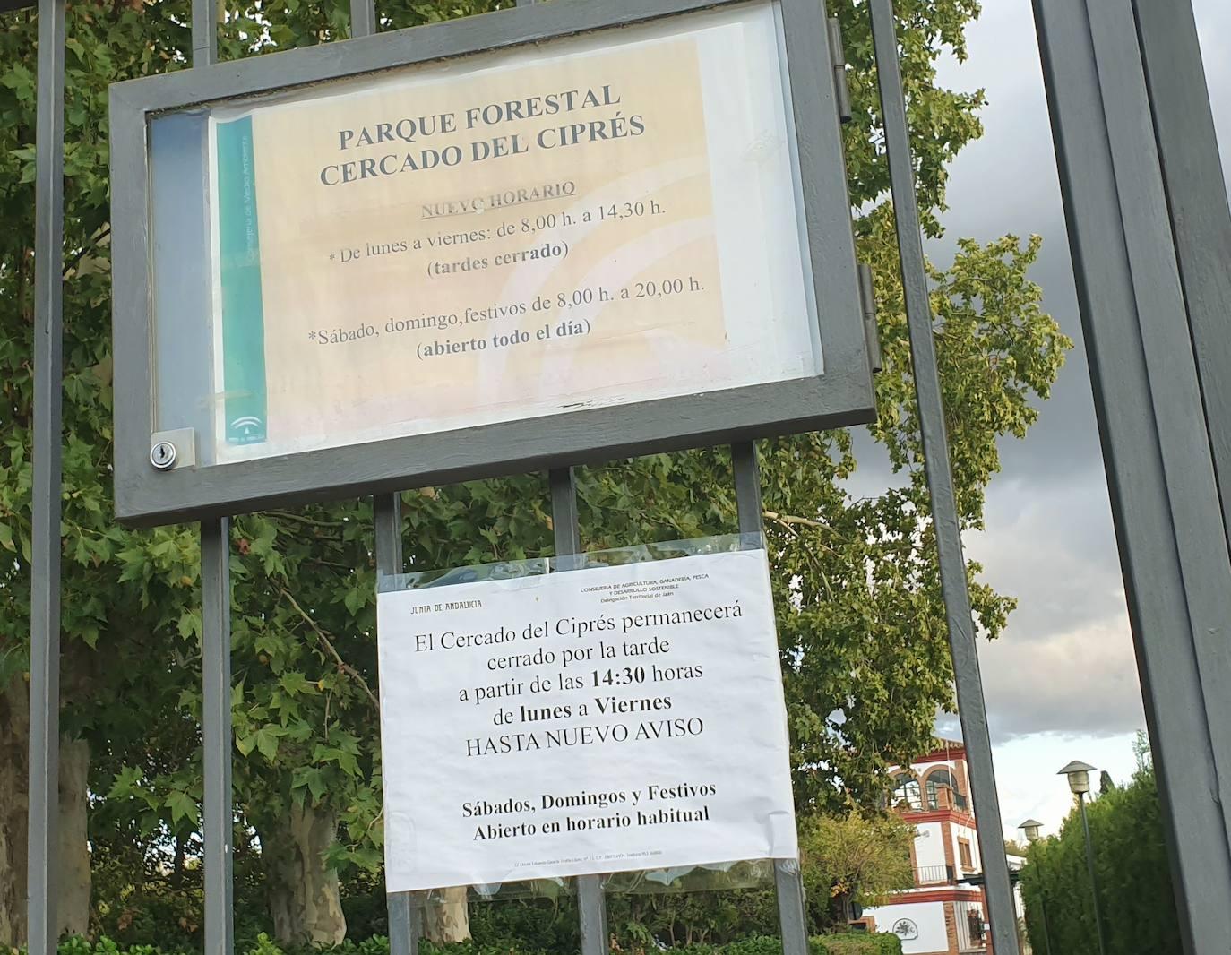 El parque medioamibiental del Cercado del Ciprés cierra por las tardes de lunes a viernes