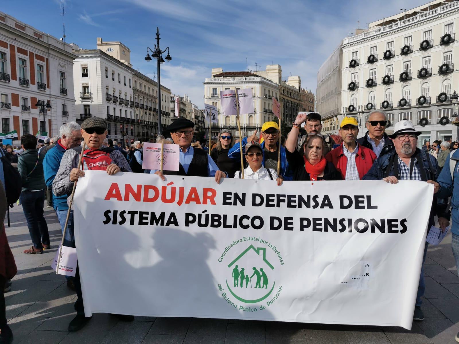 Notable presencia andujareña y de la zona en la manifestación por las pensiones de Madrid