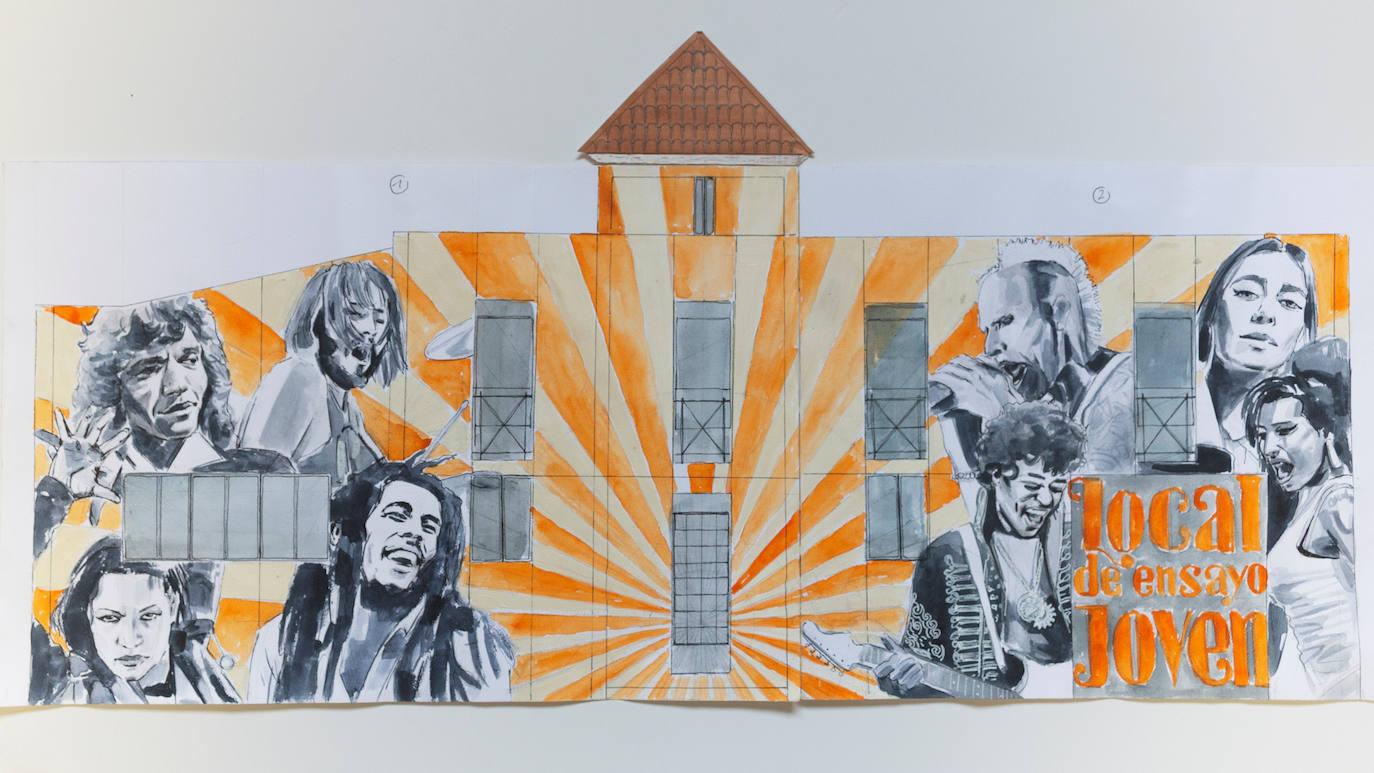 Un mural con míticos músicos de todos los estilos y épocas embellecerá la sala de ensayos para los jóvenes