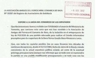 Piden al Congreso que permita el estudio para reabrir la línea entre Baza y Lorca