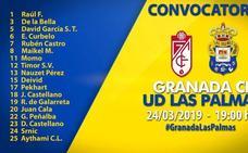 Las Palmas completa su lista de convocados con jugadores del primer equipo