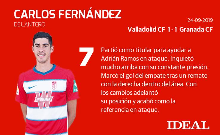Las puntuaciones de los jugadores de Granada ante el Valladolid