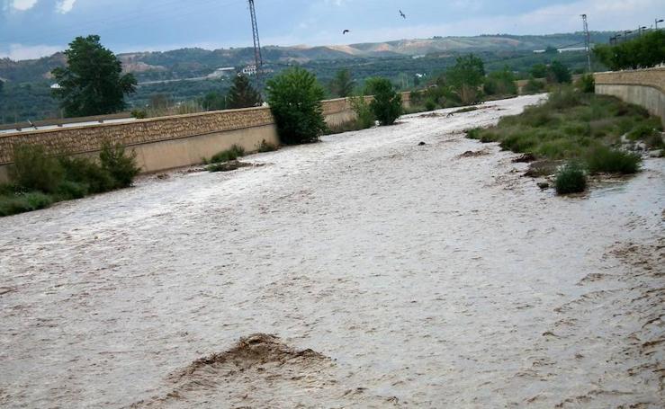 El río Guadix baja lleno de agua, una imagen insólita