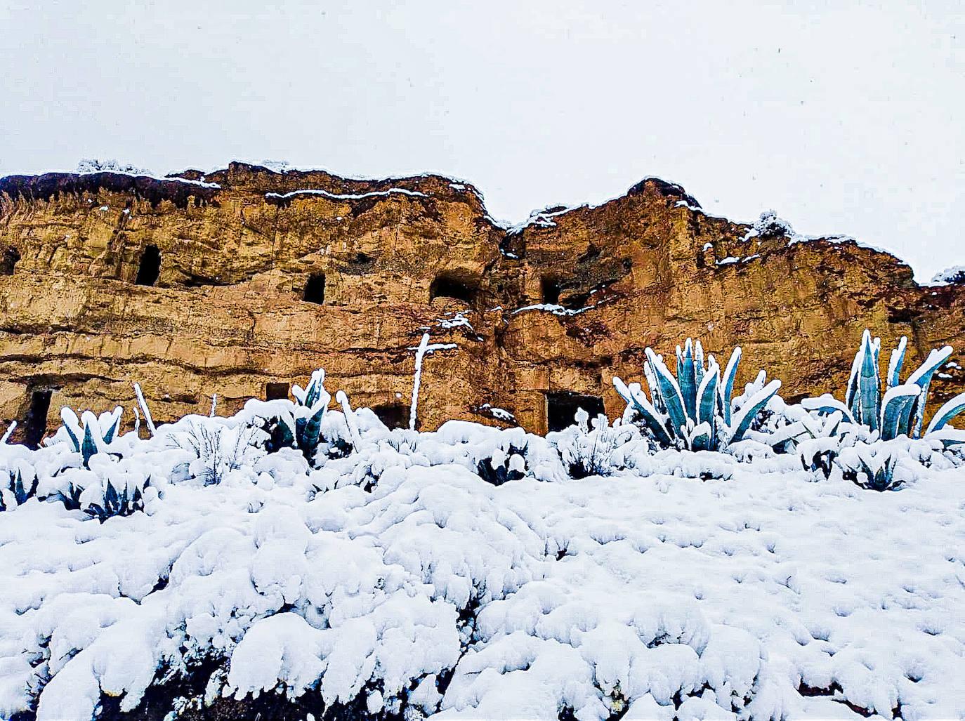 La comarca amanece nevada