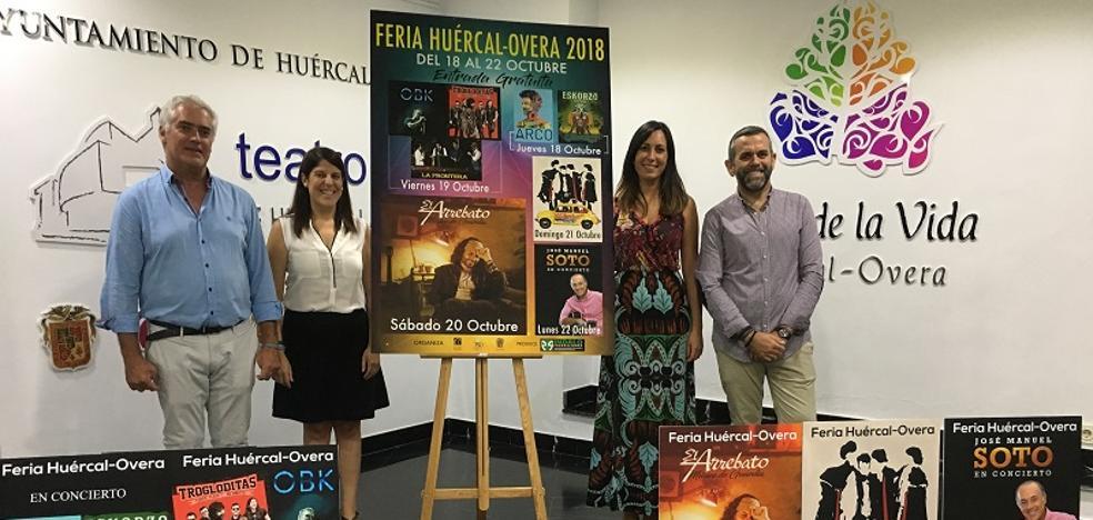 El Arrebato, Eskorzo, José Manuel Soto y Arco actuarán en la Feria de Huércal-Overa