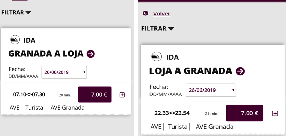 Renfe recula y baja los precios del billete de Loja a Granada de 25 euros a 7