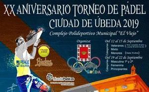 Abierto el plazo de inscripción del XX Torneo de Pádel 'Ciudad de Úbeda'