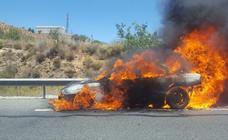 Un coche envuelto en llamas provoca la alarma en la A-44