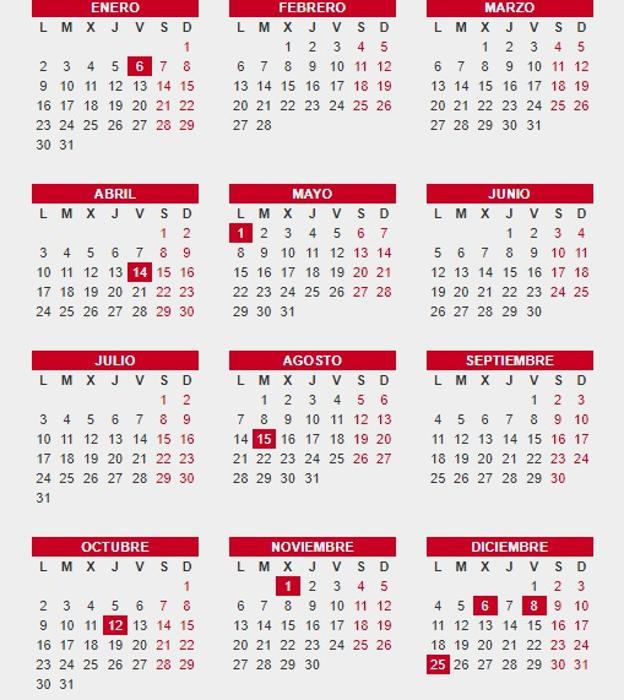 Consulta el calendario laboral 2017 festivos puentes y for Calendario eventos madrid