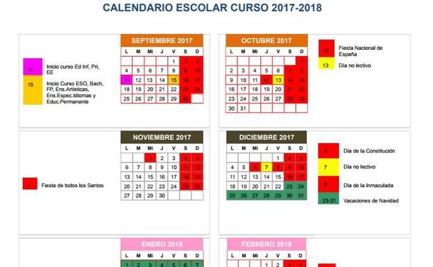 Calendario Escolar Valladolid.Calendario Escolar 2017 18 Inicio Y Fin De Curso Festivos Y