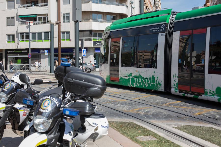 Tráfico en Granada en el estreno del metro de Granada