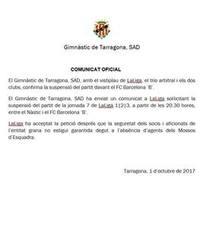 El Nástic y Barça B se aplaza por motivos de seguridad