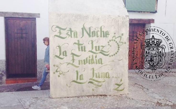Condena de prisión para un joven de Madrid por las pintadas que realizó en el Albaicín