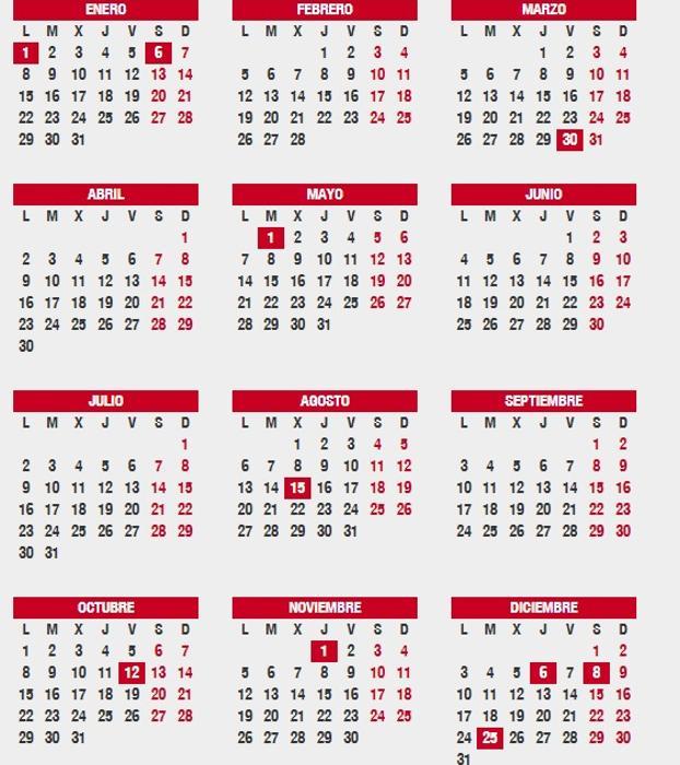 Calendario Diciembre 2018 Con Festivos.Consulta El Calendario Laboral 2018 Festivos Por Ciudad