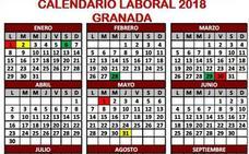 Este es calendario laboral de Granada en 2018: fiestas locales, nacionales y autonómicas
