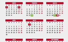 Calendario laboral 2018: festivos, puentes y Semana Santa