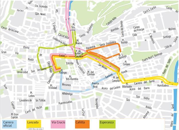 mapa de itenerarios Guía de Martes Santo en Granada: mapa de horarios, itinerarios y  mapa de itenerarios