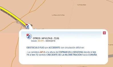 Un muerto y 13 heridos en un accidente en la AP-6 en Segovia por el granizo