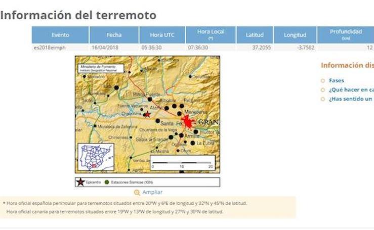 Así han sido los 16 terremotos de Granada en la mañana del lunes