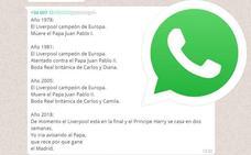 La verdad sobre el Whatsapp que invade España: el Papa, el Liverpool y la boda real