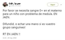 Alertan de un bulo que pide donaciones de sangre para un niño enfermo en Jaén