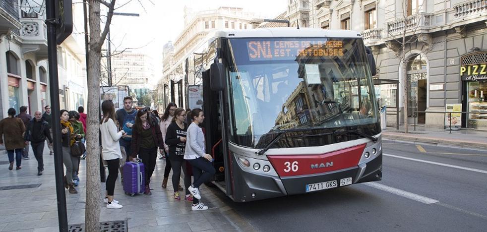 Las líneas de autobús de Granada SN1 y F1, en huelga hasta el sábado
