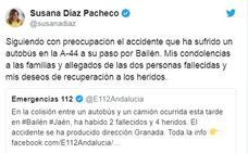 Susana Díaz expresa sus condolencias a los allegados de los fallecidos en el accidente de Bailén
