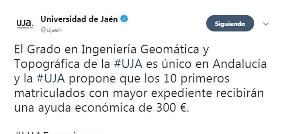300 euros para los alumnos que entren con mejor nota al Grado en Ingeniería Geomática y Topográfica de la UJA