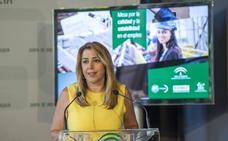 Susana Díaz valora que Andalucía lidera la inversión en «empleo estable y de calidad», con 542,44 millones