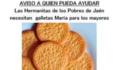 Las Hermanitas de los Pobres necesitan galletas María para sus mayores en Jaén