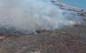 El incendio en la desembocadura del Andarax afectó a 1,5 hectáreas de matorral