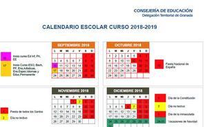 Calendario escolar de Granada y provincia para el curso 2018/19
