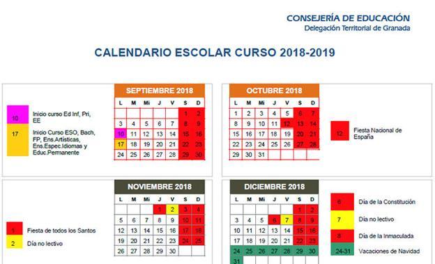 Calendario Laboral Granada 2020.Calendario Escolar De Granada Y Provincia Para El Curso 2018 19 Ideal