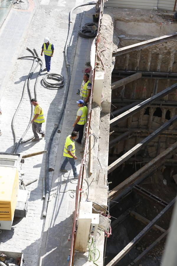 El socavón en las obras del Hotel Montecarlo