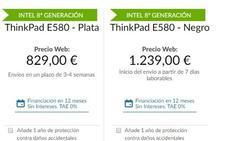 Portátil Lenovo ThinkPad E580 desde sólo 59.22 euros en 12 meses sin intereses. Te ahorras 125 euros