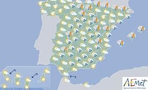 La AEMET alerta del tiempo para hoy y mañana: tormentas y chubascos