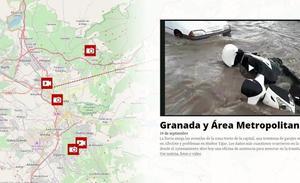 El mapa de las inundaciones de Granada, una a una