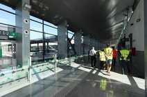 Llegada del ministro de Fomento a la estación de Andaluces