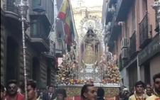 Procesión de la Virgen del Rosario en las calles de Jaén