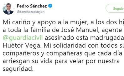 Pedro Sánchez: «Mi cariño y apoyo a la mujer, a los dos hijos y a toda la familia de José Manuel»
