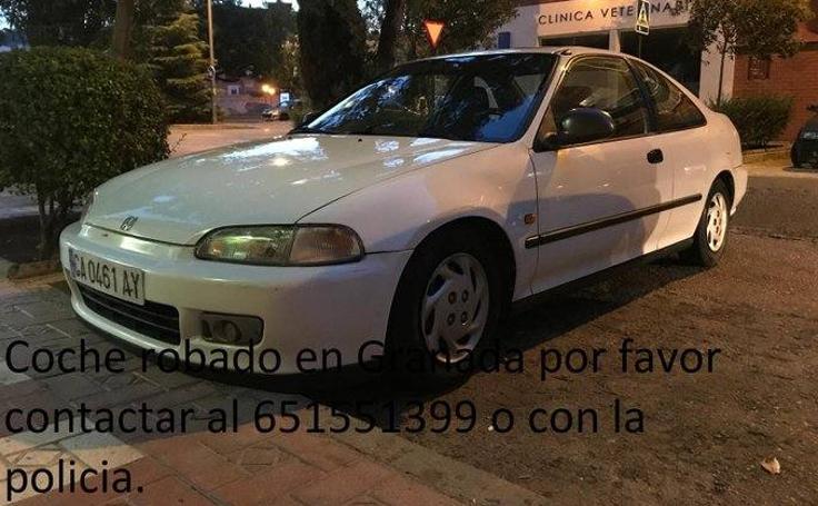 Así es el coche robado en Granada que busca la Policía Local