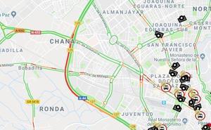Dos heridos evacuados tras una colisión múltiple en la Circunvalación de Granada