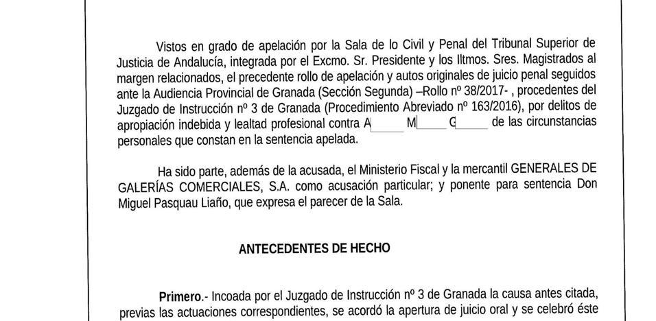 El TSJA confirma la condena de una procuradora de Olivo a un año y medio de cárcel